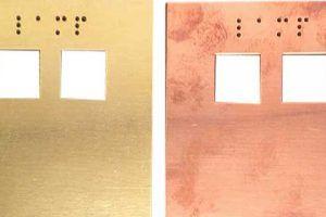 Intercompaneel: Gebruineerd messing - Braille