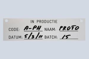 Plastic labels, hand bijgeschreven