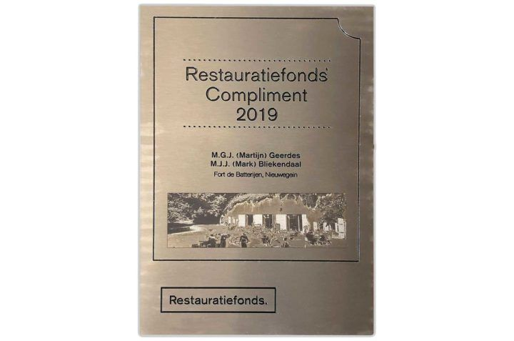 rvs graveren - Plaquette - restauratiefonds
