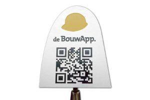 Troffel met QR code van de BouwApp