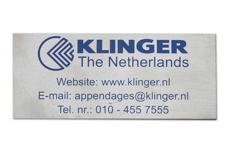RVS - etsen - merkenlabel - Klinger