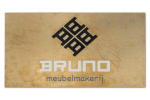 Messing gebruineerd frezen bedrijfsnaambord Bruno Meubelmakerij 1600x1066 BJ